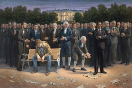 Jon McNaughton's painting of Obama stepping on the constitution