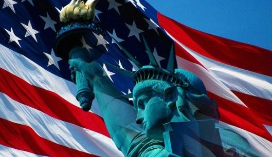 Liberty and flag